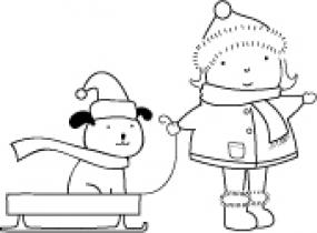 Poppystamps Cling Stamp Mädchen mit Schlitten &. Hund/Snowtime F