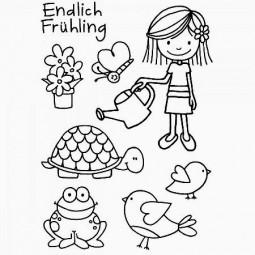 Efco Clear Stempel-Set ' Endlich Frühling ' Mädchen, Frosch, Schildrköte u. Vögel 4511241