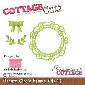 CottageCutz Stanzform Rahmen rund mit Schleife u. Blätter /Ornate Circle Frame SC-CC-M