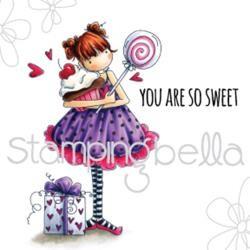 Stampingbella Cling Stempel Mädchen mit Geschenk u. Lolli / Tiny Townie Sammy Is Sweet EB456