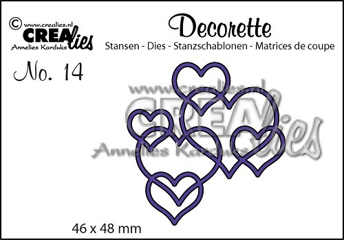 Crealies Stanzform Decorette Nr. 14 Herzen / Interlocking Hearts CLDR14