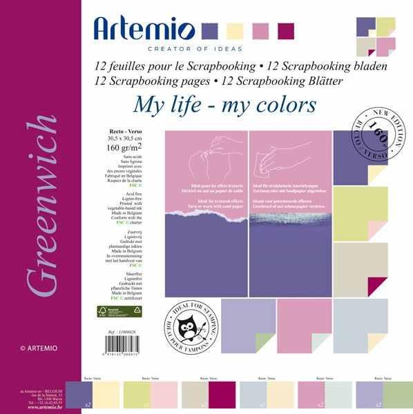 Papier-Set zwei-farbig 30,5 x 30,5 cm GREENWICH 11008026 (12 Bla