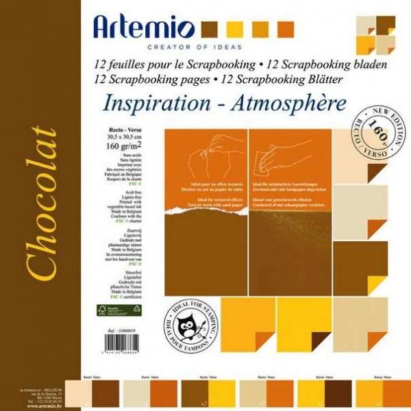 Papier-Set zwei-farbig 30,5 x 30,5 cm Chocolat 11008019 ( 12 Bla