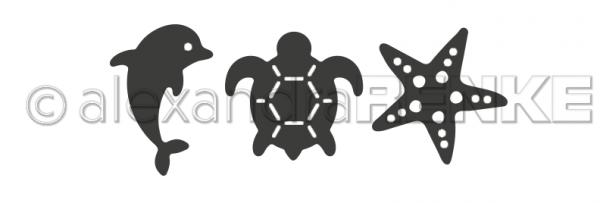 Alexandra Renke Stanzform Delfin, Schildkröte u. Seestern D-AR-Ti0020