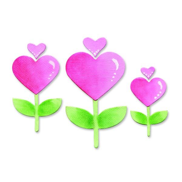 Sizzix Stanzform BIGZ Herz-Blumen / heart flowers 655918
