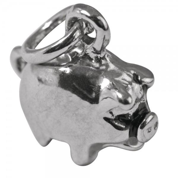 Rayher Metall-Anhänger Glücksschwein mit Öse silber 22-106-22