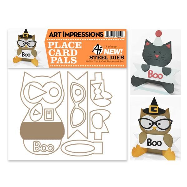 Art Impressions Stanzform Katze u. Eule Platzkarten-Set / Cat & Owl Placecard Set AI4805
