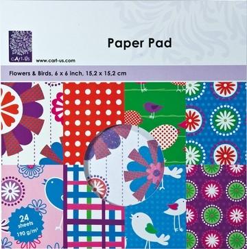 Cart-Us Paper Pad FLOWERS & BIRDS 15,2 x 15.2 cm 117000/0012 (rot-grün-blau )