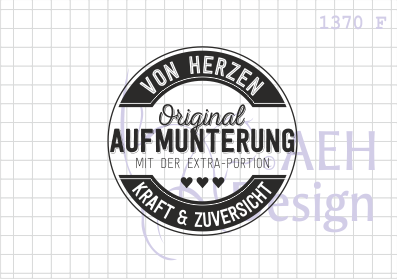 AEH Design Stempelgummi Textstempel rund ' Aufmunterung ' 1370 F