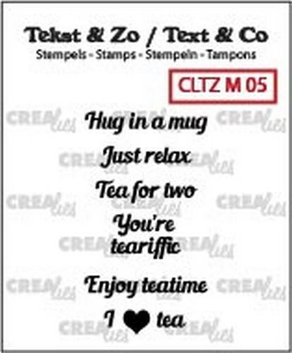 Crealies Clear Stempel ' Hug in a mug,Just relax,Tea for two,You're teariffic, Enjoy,Teatime, I love