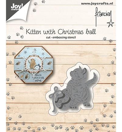 Joycrafts Stanzform Katze mit Weihnachtskugel / Kitten With Christmas Ball 6002/1149