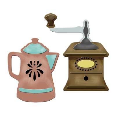 Spellbinders Stanzform Kaffeemühle u. Kanne / coffee grinder S3-143