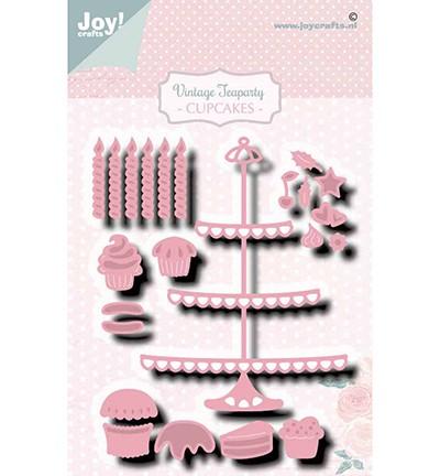Joycrafts Stanzform Kuchen-Etagere, Muffins u. Kerzen / Vintage Teaparty Cupcakes 6002/1469