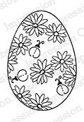 Impression Obsession Cling Stempel Ei mit Blumen u. Marienkäfer / Ladybug Egg C9635