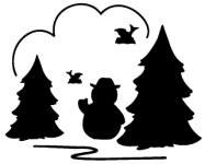Schneemann zwischen Bäumen / snowman in trees L 962