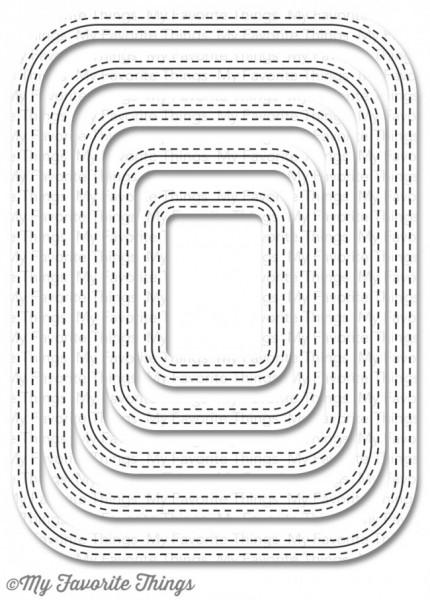 Dienamics Stanzform Rechtecke mit abgerundeten Ecken u. Nähnaht beidseitig / Inside & Out Stitched R