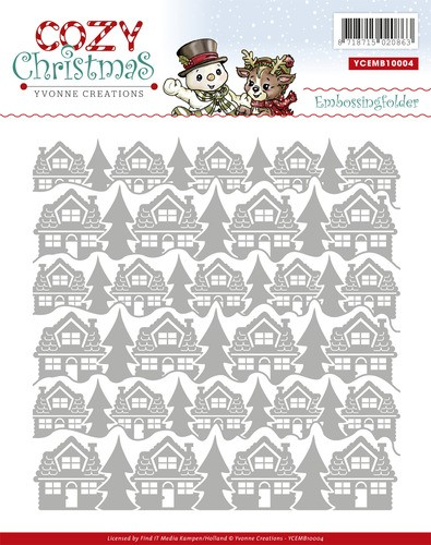 Yvonne Creations Embossing Folder Häuser u. Bäume / Cozy Christmas YCEMB10004