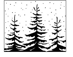 Memory Box Cling Stempel Snowy Evergreens CS1956F