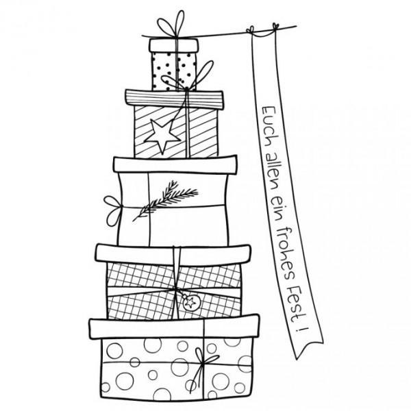 Rayher Holz-Stempel ' Euch allen ein frohes Fest ' Geschenke-Turm 29-189-000