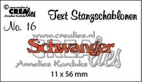 Crealies Stanzform Worte ' Schwanger ' CLTSS16