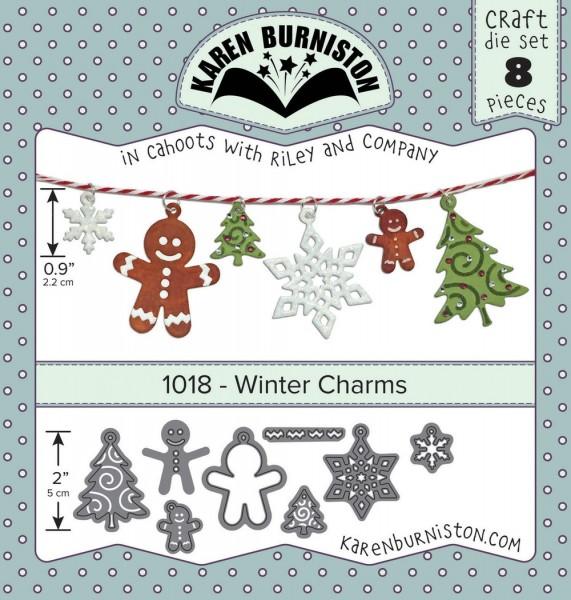 Karen Burniston Stanzform Schneeflocken,Tannenbaum u.Lebkuchenmännchen Charms / Winter Charms 1018