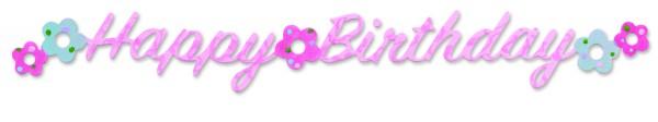 """Sizzix Stanzform Sizzlits Border """" Happy Birthday """" mit Blumen 656107"""