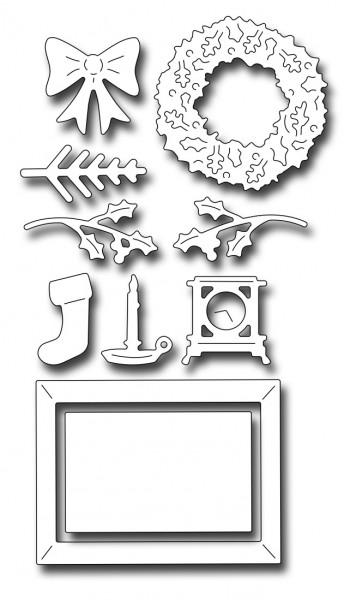 Frantic Stampers Stanzf.Kamin-Zubehör Kranz,Socken,Zweige / Fireplace Holiday Extras FRA-DIE-10022