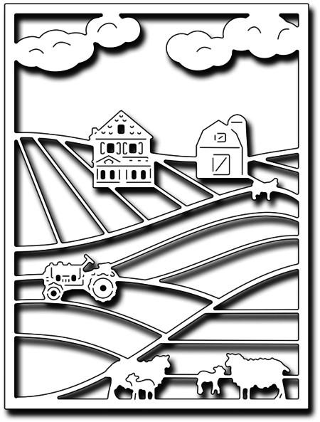 Frantic Stampers Stanzform Bauernhof-Szene / Farm Scene Card Panel FRA-DIE-09971