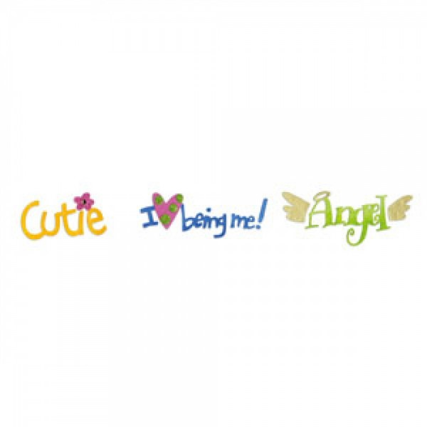 Sizzix Stanzform Sizzlits Border ' Angel, I love being me , cute ' 654364
