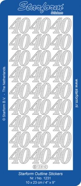 Starform Sticker SILBER Zahlen ' 40 ' 1231s