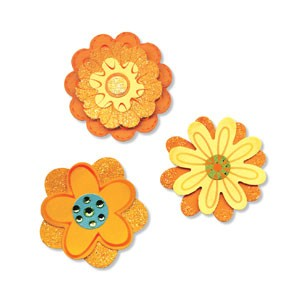 Sizzix Stanzform Sizzlits MEDIUM 3-er Blumen / flower layers 656324