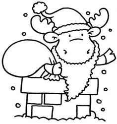 Riley Stempelgummi Elch im Schornstein/ Santa in Chimney 494976 / RWM-0180