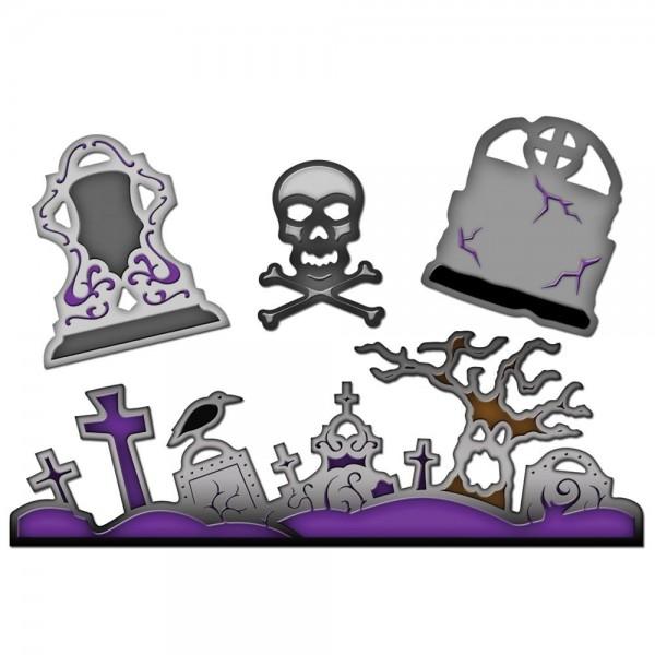 Halloween Motive / Graveyard scene and shapes S4-279
