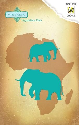 Nellie Snellen Stanz-u. Prägeform Vintasia Elefant / Elephant VIND030 ( türkis )