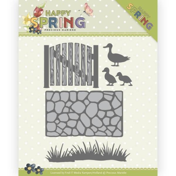 Precious Marieke Stanzform Mauer, Gras, Tor u. Enten / Happy Spring Garden PM10149