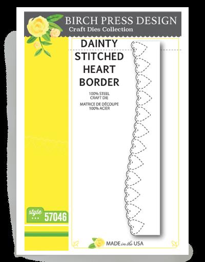 Birch Press Design Stanzform Herz-Border Nähnaht / Dainty Stitched Heart Border 57046