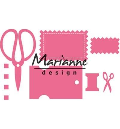Marianne D Collectable Stanzform Schere, Garnrolle u. Anhänger / Dates COL1445