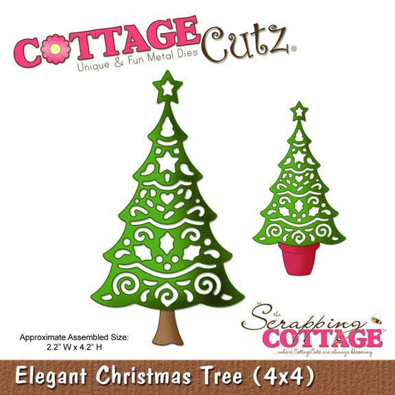CottageCutz Stanzform Eleganter Weihnachtsbaum/elegant Christmas Tree SC CC4x4-286