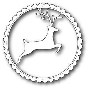 Memorybox Stanzform Hirsch in gewelltem Kreis / Reindeer Scalloped Circle Frame 99502