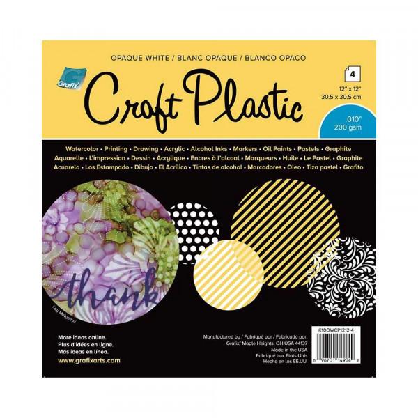 "Grafix Craft Plastic Sheets 12 "" x 12 "" Opaque White 0,010 KOWCP124"
