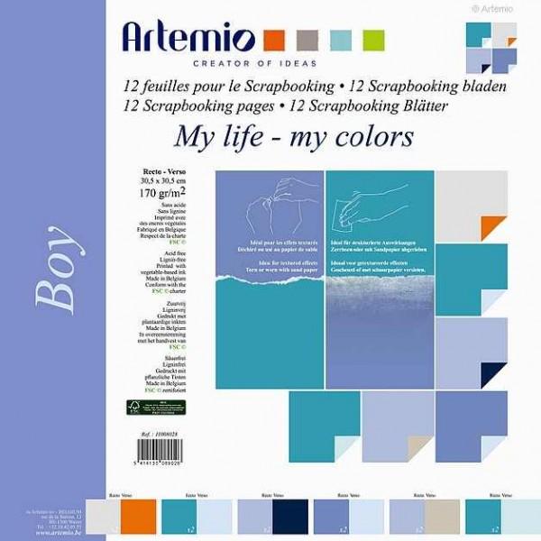Papier-Set zweifarbig 30,5 x 30,5 cm BOY 11008028 (12 Blatt)