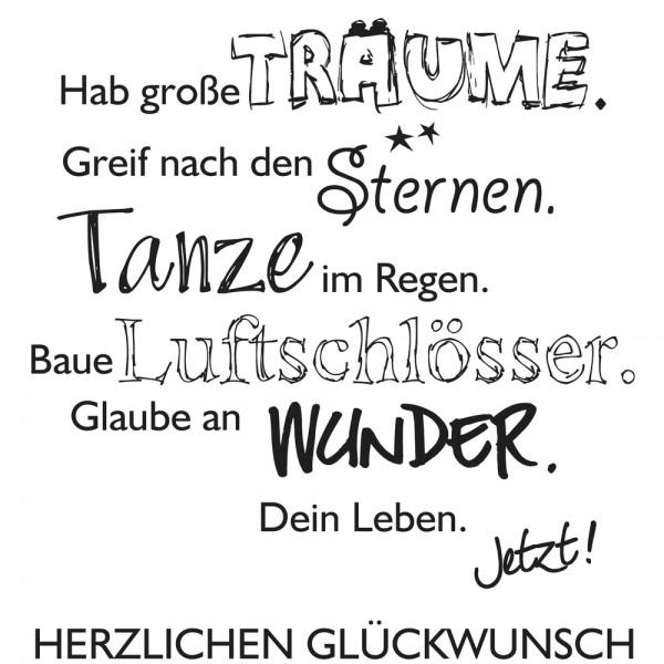 "Rayher Holz-Stempel "" Hab' große Träume. "" / Lebe Dein Leben 28-981-000"