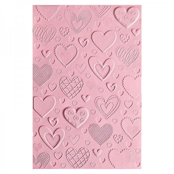 Sizzix 3-D Textured Impressions Embossing Folder Herzen / Hearts 663628