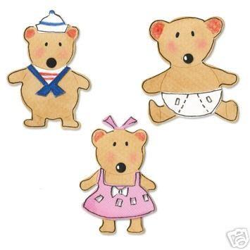 Sizzix Stanzform Sizzlits SMALL 3-er Baby Bären / baby bears set 655424