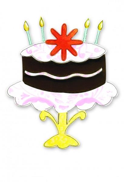 Sizzix Stanzform BIGZ Kuchen auf Tortenständer mit Blume u. Kerzen / Cake with Stand, Candles & Flo
