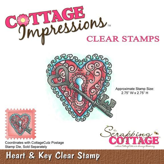 Cottage Cutz Clear Stamp Herzschloß u. Schlüssel / heart & key