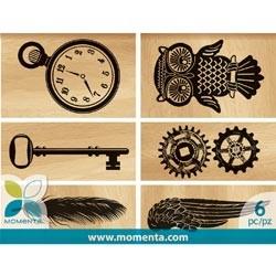 Momenta Holzstempel-Set Feder,Schlüssel,Uhr, Zahnräder,Eule 22189