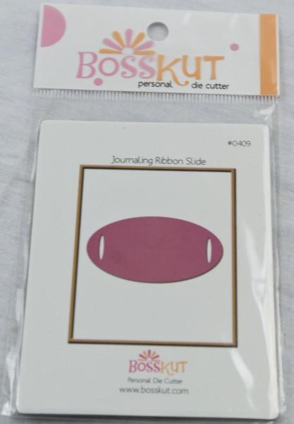 Bosskut Stanzform Spange für Bänder Oval groß / journaling ribbon slide 0409