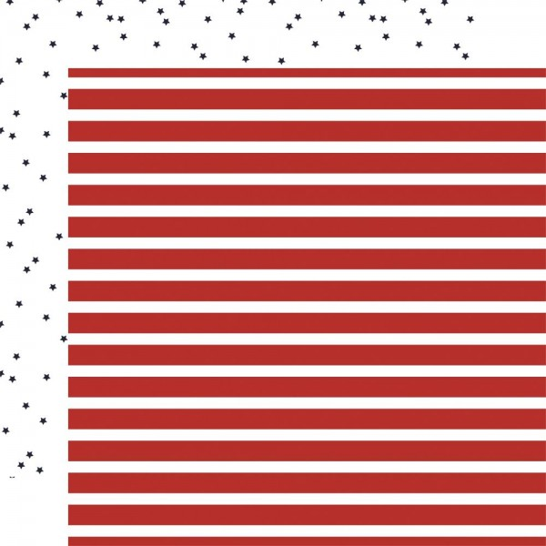 Carta Bella Scrapbook-Papier Deep Blue Sea Sterne blau u. Streifen rot / Sailor Stripe CBDB102-011