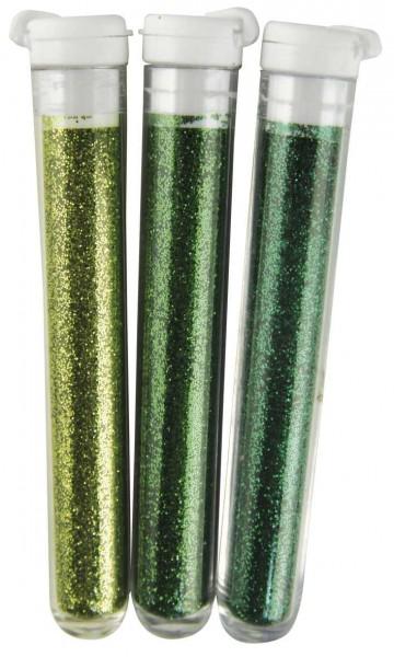 Feinflitter Grün Töne in Glasröhrchen 39-404-00